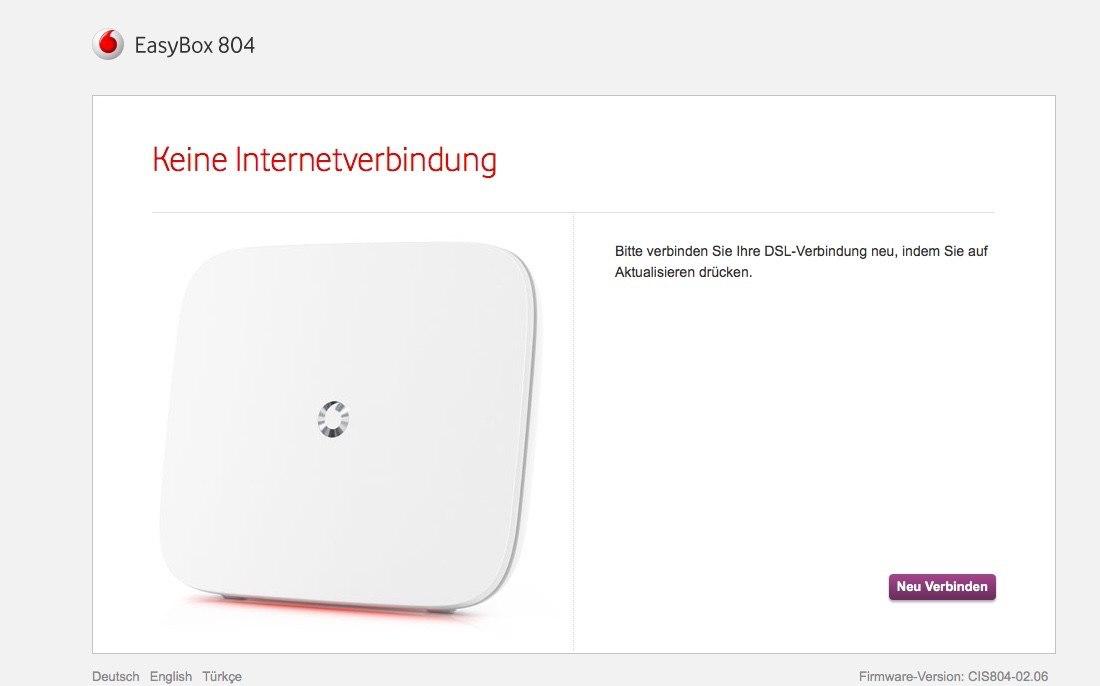 Easy Box 804 - Menu - Keine Internetverbindung