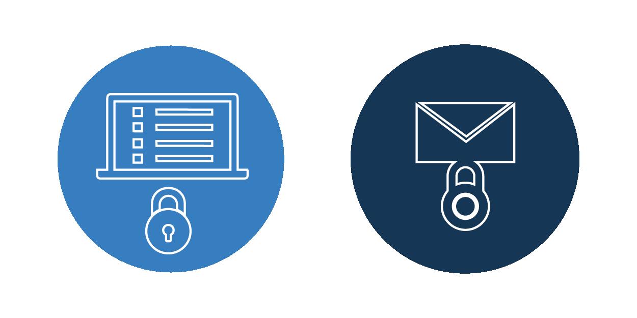 Abbildung von verschlüsselten Notebook und E-Mails