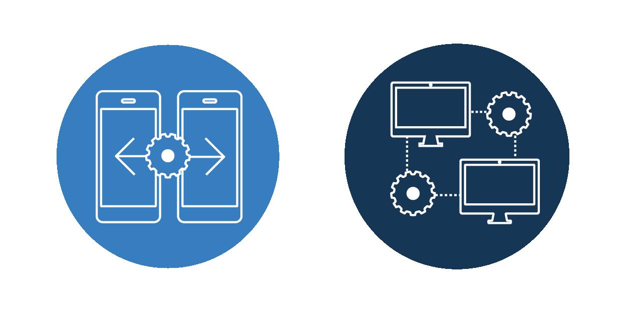 Abbildung von vernetzten Mobiltelefonen und Computern